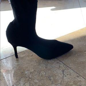 Black sock heels